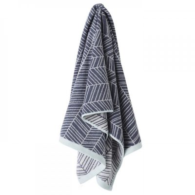 Aura Bath Towel Feather Design Stone Blue