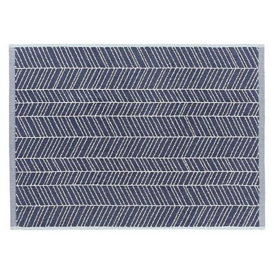 Aura Bath Mat feather design stone blue