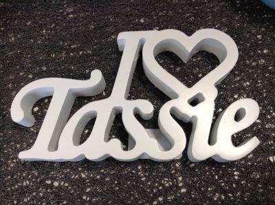 "Block word ""I Love Tassie"""