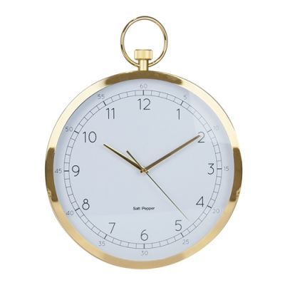 S&P Zone Wall Clock Stopwatch 38cms Gold