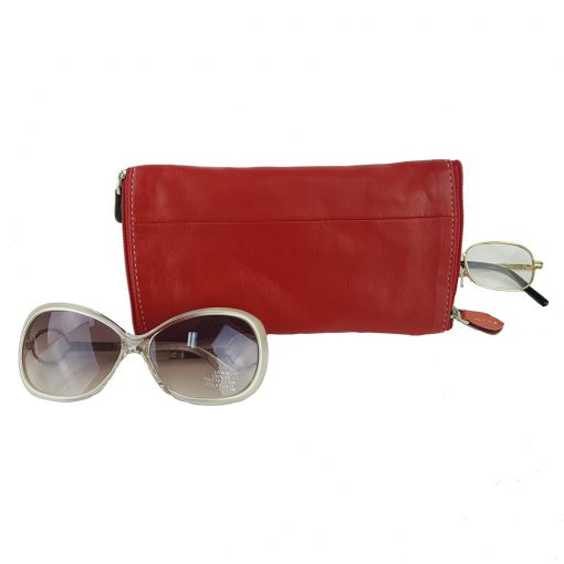 Glasses double leather case red