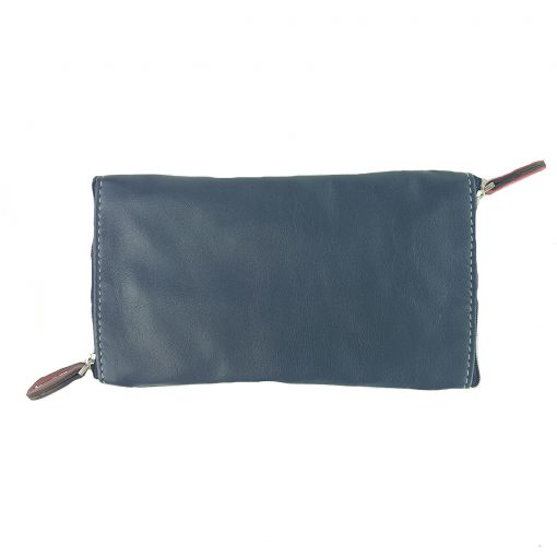 Glasses double leather case navy