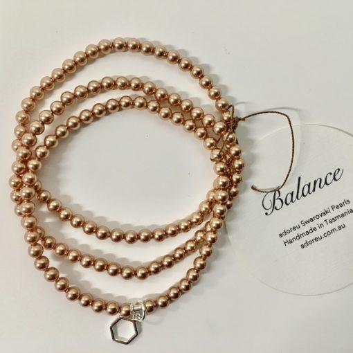 Rose gold three stran bracelet