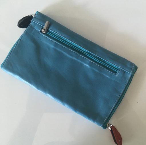 Glasses leather double case aqua